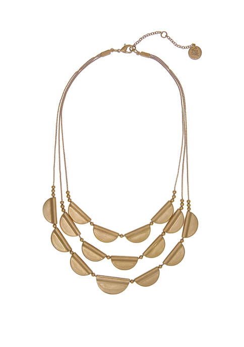 Gold Tone 3 Row Casted Layered Necklace
