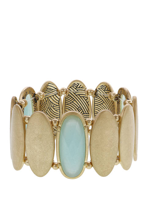 Gold Tone Textured Oval Stretch Bracelet with Mint Stone Accent