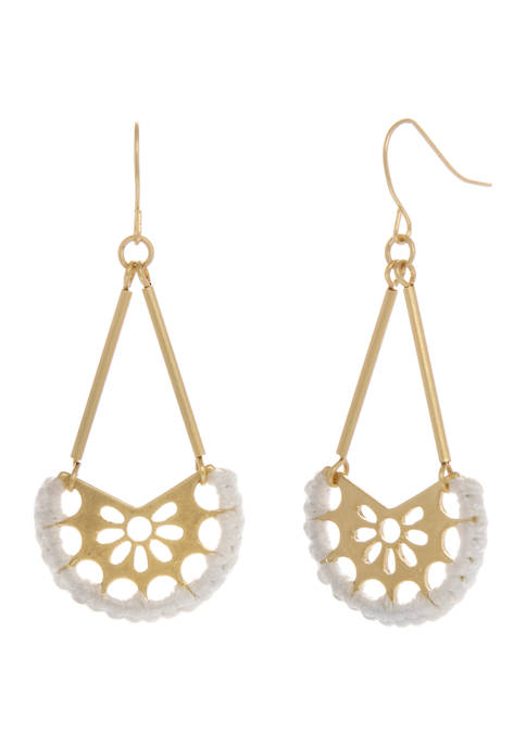 Gold Tone Filigree Drop Earrings with White Thread