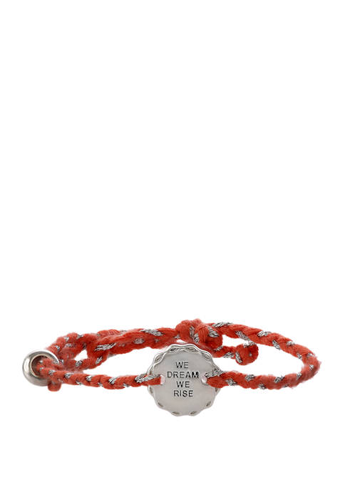 Girl Rising Peach Thread Bracelet with Sterling Silver