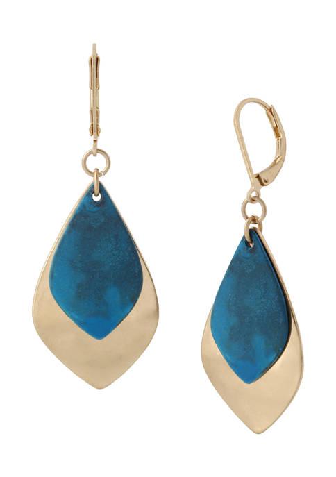 Patina Leaf Layered Drop Earrings