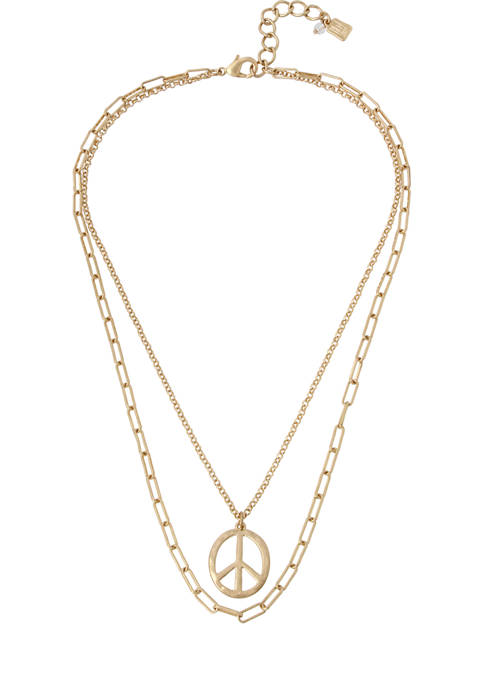Peace Sign Pendant Layered Necklace