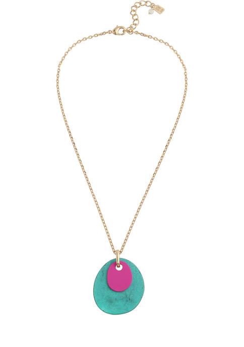 Patina Layered Disc Pendant Necklace