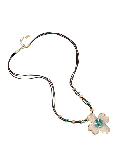Robert Lee Morris Soho Patina Flower Pendant Long