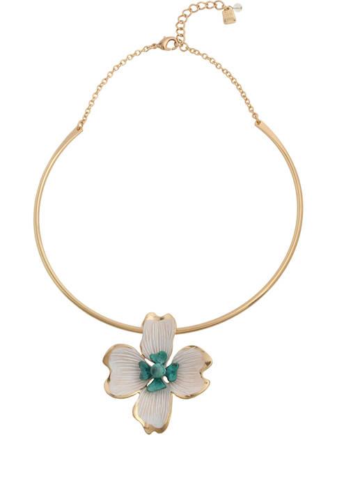 Robert Lee Morris Soho Patina Flower Pendant Necklace