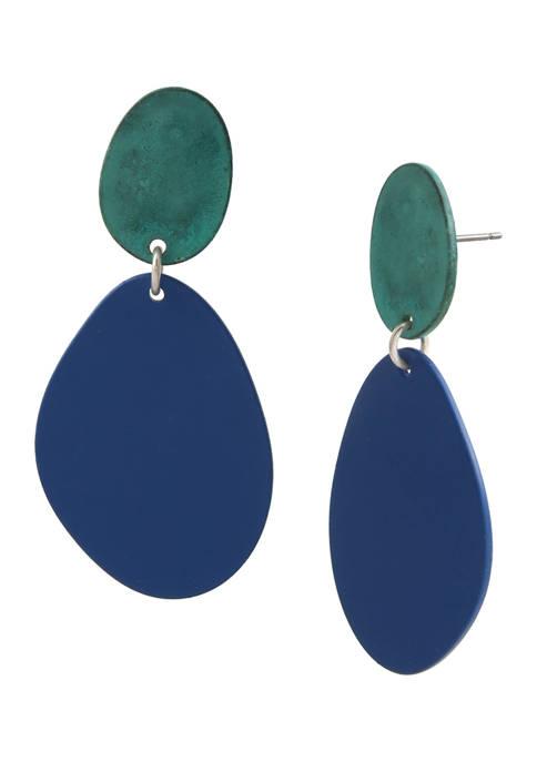 Patina Disc Double Drop Earrings