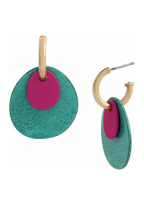 Patina Disc Huggie Earrings