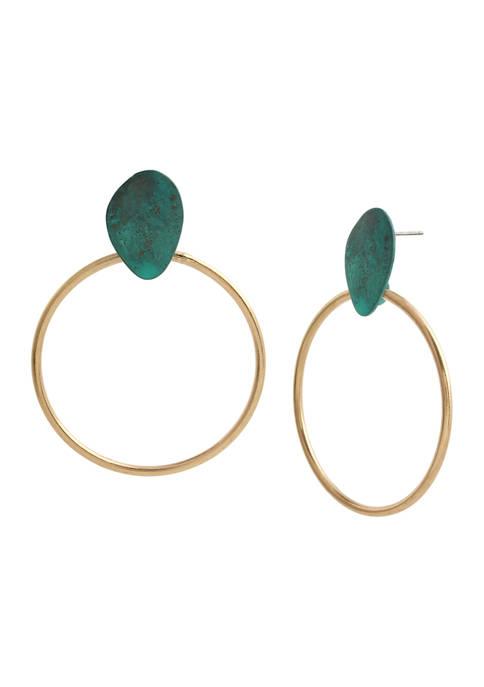 Patina Disc Gypsy Hoop Earrings