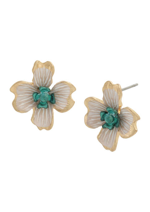Patina Flower Stud Earrings
