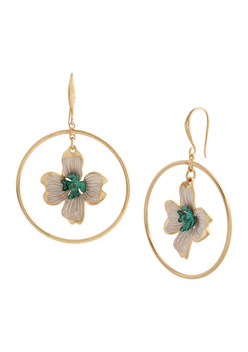 Patina Flower Orbital Earrings