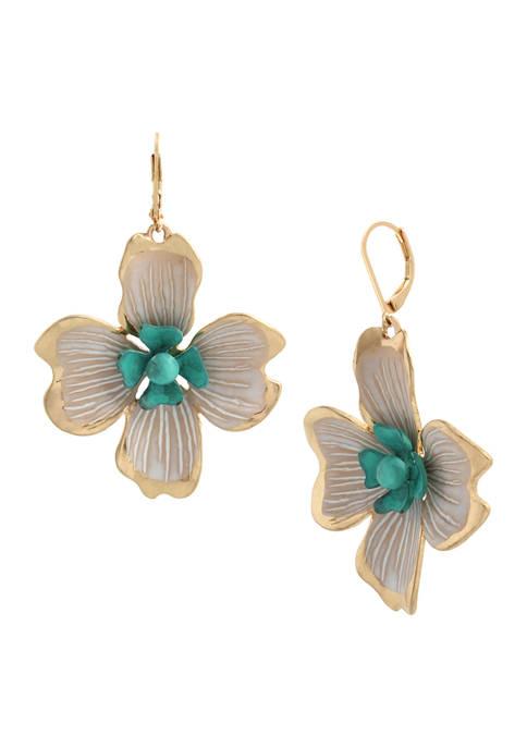 Patina Flower Statement Earrings