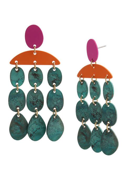 Patina Disc Chandelier Earrings