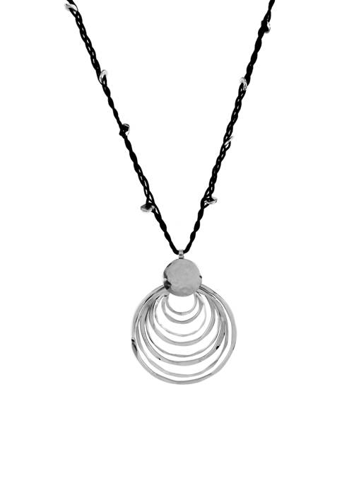 Sculptural Circle Pendant Long Necklace