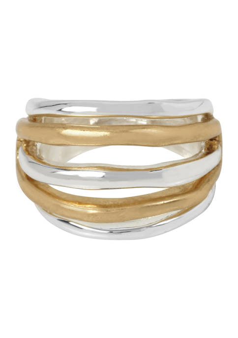 Two-Tone Multi Row Ring