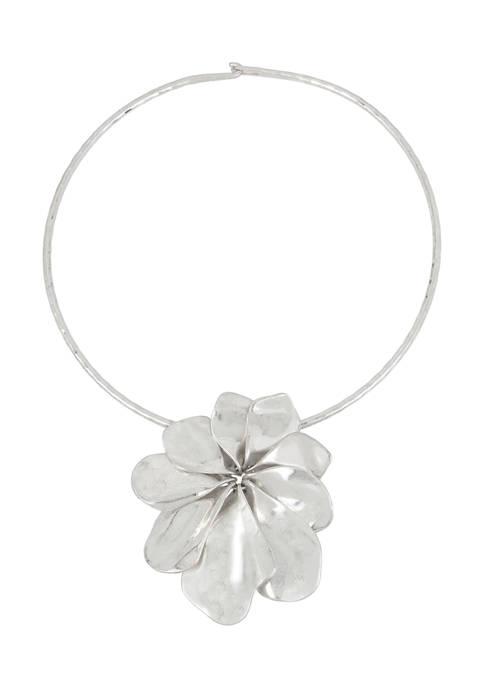 Flower Pendant Round Wire Collar Necklace
