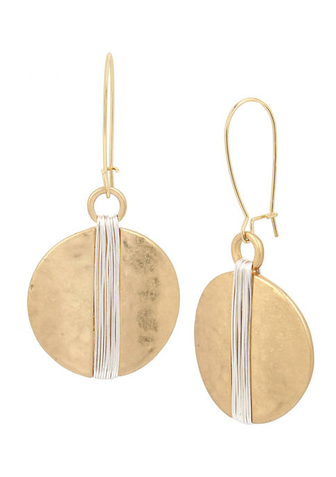 Two-Tone Wire Wrapped Circle Drop Earrings
