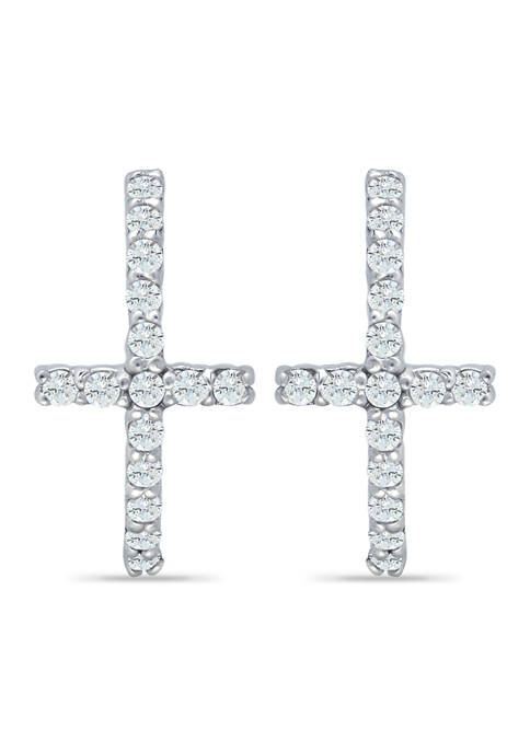 B.Brilliant Sterling Silver Pave CZ Cross Huggie Hoop