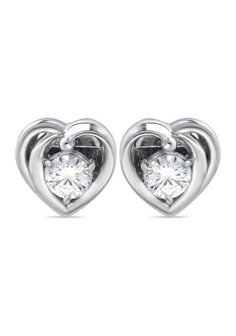 B.Brilliant Sterling Silver CZ Heart Halo Stud Earrings