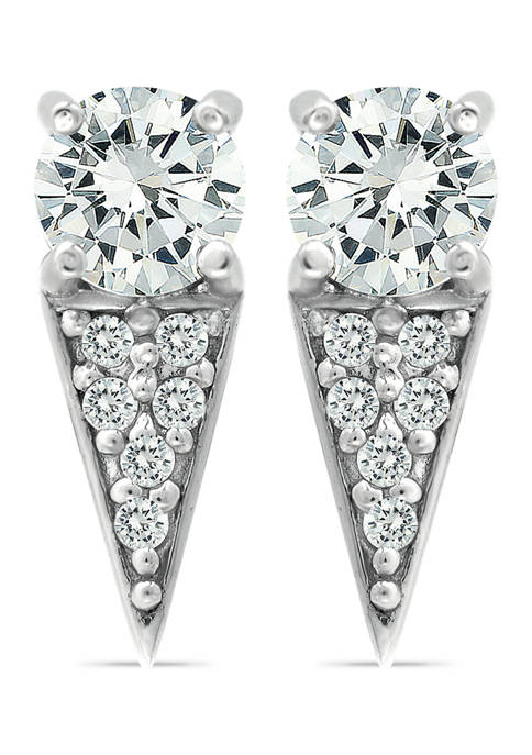 B.Brilliant Sterling Silver CZ Pavé Dagger Drop Earrings