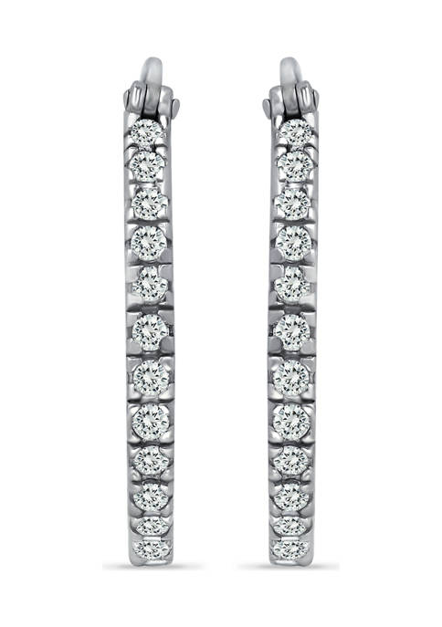B.Brilliant Sterling Silver CZ Pavé Inside-Outside Click