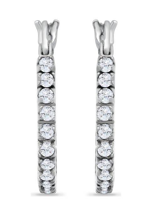 Sterling Silver CZ Pavé Inside-Outside Click Top 18mm Hoop Earrings
