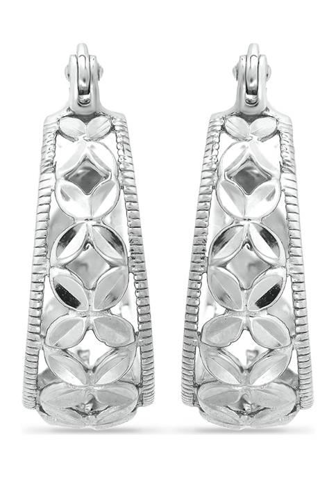 B.Brilliant Sterling Silver Diamond Cut Floral Filigree Click