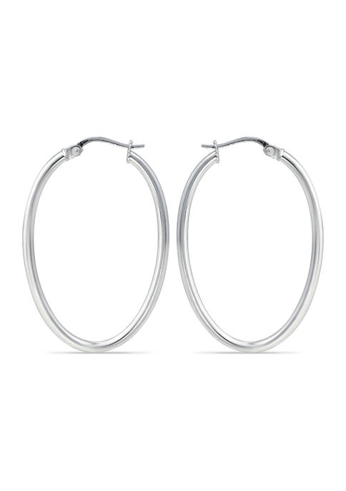 Sterling Silver Polished Oval Hoop Earrings