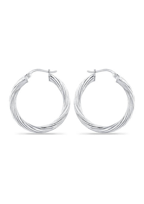 Sterling Silver Polished Twist Click Top Hoop Earring