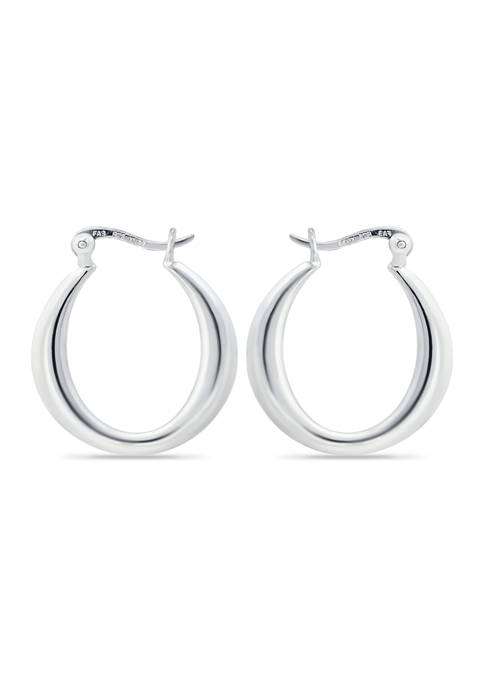 B.Brilliant Sterling Silver Graduated Polished Click Top Hoop