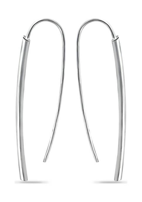 Sterling Silver Polished Tubing Dagger Medium Drop Earrings