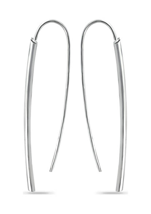 Sterling Silver Polished Tubing Dagger Large Drop Earrings