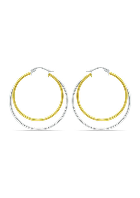 18K Gold over Silver and Sterling Silver Two-Tone 35mm Round 2 Row Click Top Hoop Earrings