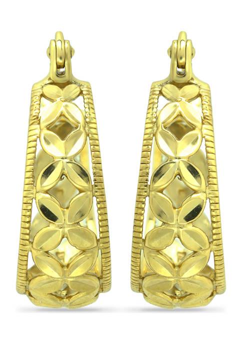 B.Brilliant 18K Gold Over Silver Diamond Cut Floral