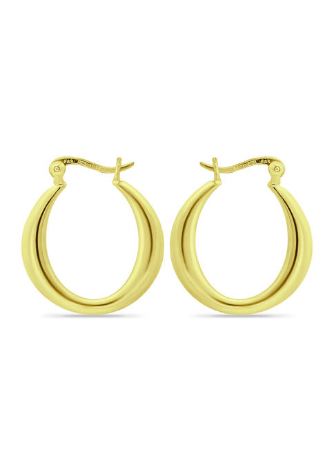 18K Gold over Silver Graduated Polished Click Top Hoop Earrings