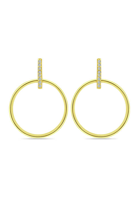 18K Gold over Silver Polished Open Circle Cubic Zirconia Earrings