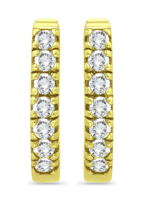 18K Gold over Silver CZ Oval Huggie Hoop Earrings