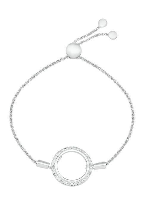1/10 ct. t.w. Diamond Sterling Silver Fashion Bolo Bracelet