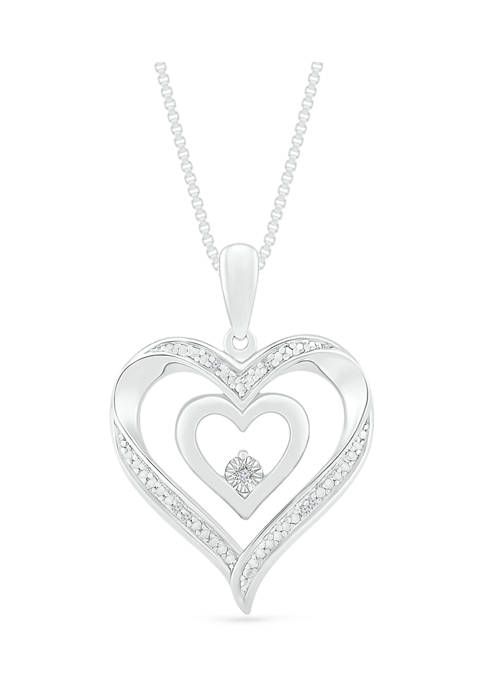 7Continents 1/10 ct. t.w. Diamond Sterling Silver Heart