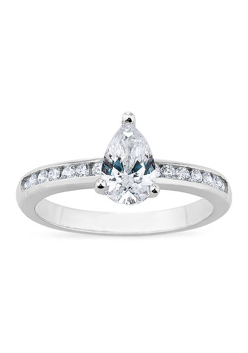 Pear Channel Cubic Zirconia Ring in Sterling Silver