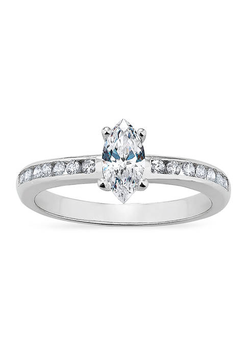 Marquis Channel Cubic Zirconia Ring in Sterling Silver
