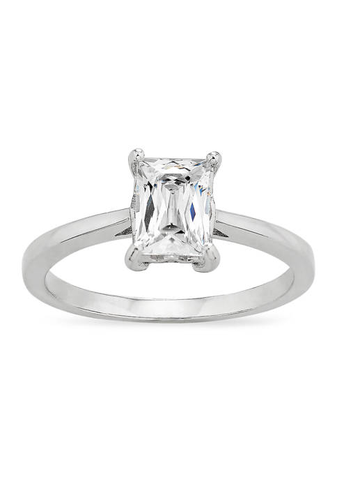 Baguette Cubic Zirconia Solitaire Ring in Sterling Silver