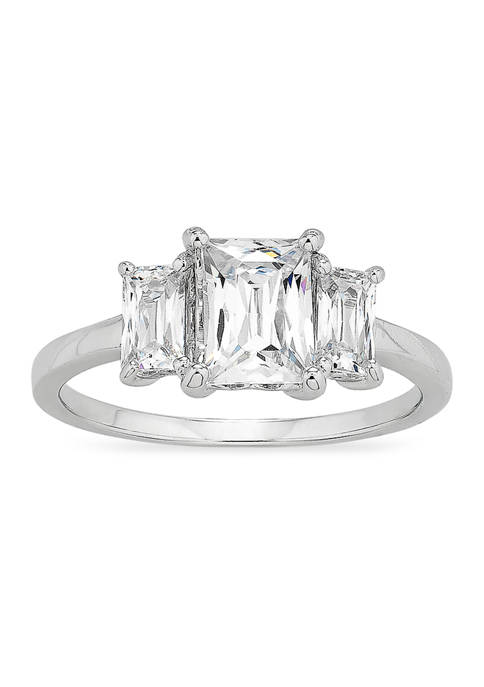 Forever New Baguette CZ 3-Stone Ring in Sterling