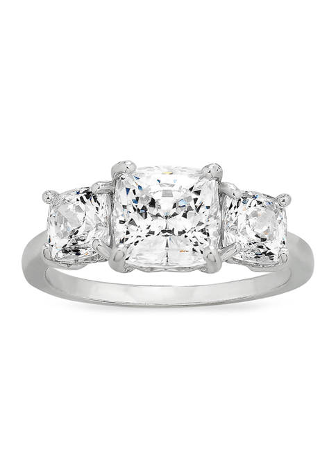 Cushion CZ Ring in Sterling Silver