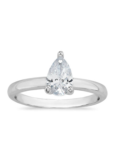 Pear Cubic Zirconia Solitaire Ring in Sterling Silver