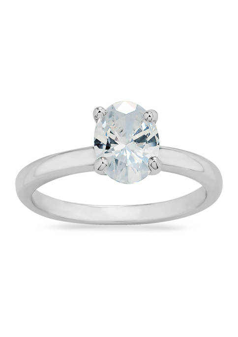 Oval Solitaire Cubic Zirconia Ring in Sterling Silver