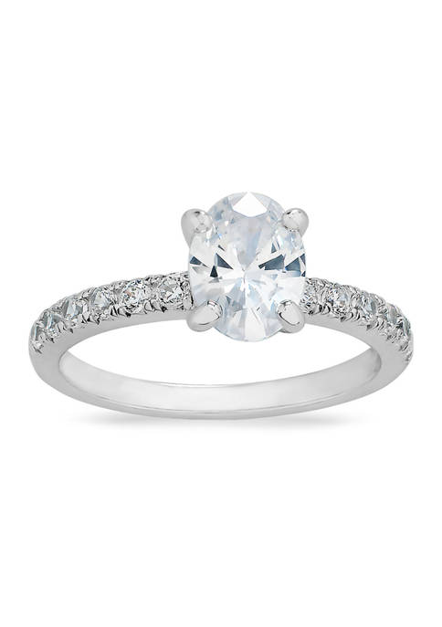 Oval Cubic Zirconia Ring in Sterling Silver