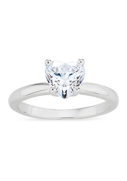 Forever New Heart CZ Solitaire Ring in Sterling
