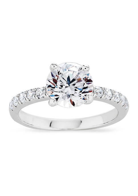 Round Cubic Zirconia Ring in Sterling Silver