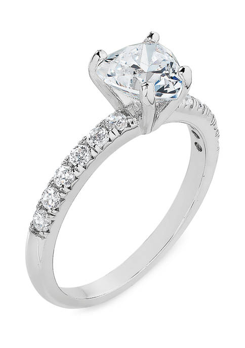 Heart Cubic Zirconia Ring in Sterling Silver