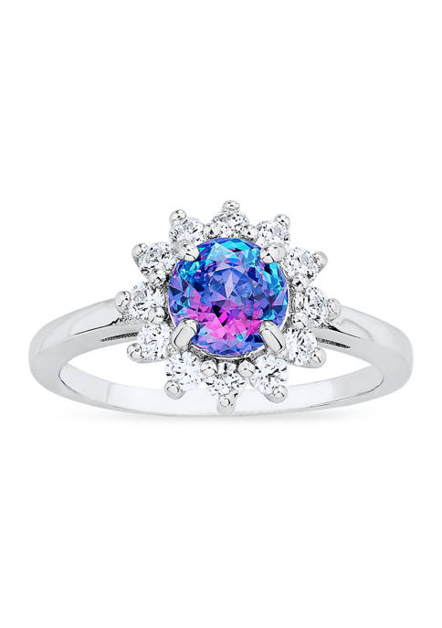 Vibrant Purple CZ Ring in Sterling Silver
